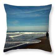 Walking On Seaside Beach Throw Pillow