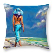 walking on the beach More Color Throw Pillow