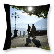 Walking On The Lakefront Throw Pillow