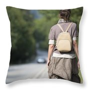 Walking On The Road Throw Pillow