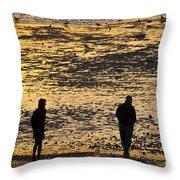 Strangers On A Shore - Walking Silhouettes Throw Pillow