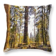 Walking Small In The Tall Forest Throw Pillow