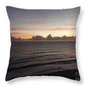 Walking The Beach At Sunrise Throw Pillow