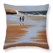 Walking The Beach Throw Pillow