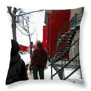 Walking The Dog Through Snowy Streets Of Montreal Urban Winter City Scenes Carole Spandau Throw Pillow