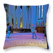 Walking The Indoor Labyrinth In Grace Cathedral In San Francisco-california Throw Pillow