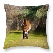 Walking Towards Me In Sunrays Throw Pillow