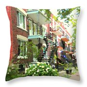 Walking Verdun In Summer Winding Staircases And Pathways Urban Montreal City Scenes Carole Spandau Throw Pillow