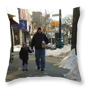 Walking With Dad Throw Pillow