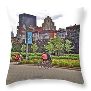 Walkway By Quays Along Saint Lawrence River In Montreal-qc Throw Pillow
