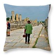 Walkway To Harbor In Ephesus-turkey Throw Pillow