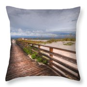 Walkway To The Beach At Romar Access Throw Pillow