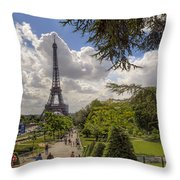 Walkway To The Eiffel Tower Throw Pillow
