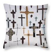 Wall Of Crosses Throw Pillow