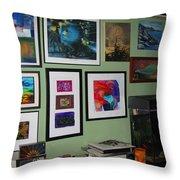 Wall Of Framed Throw Pillow