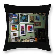 Wall Of Framed Throw Pillow