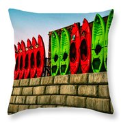 Wall Of Kayaks Throw Pillow