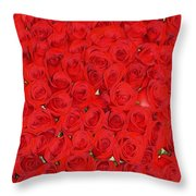 Wall Of Red Roses Throw Pillow