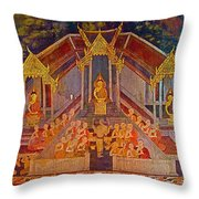 Wall Painting 2 At Wat Suthat In Bangkok-thailand Throw Pillow