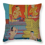 Wall Painting 2 In Wat Po In Bangkok-thailand Throw Pillow