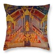 Wall Painting 3 At Wat Suthat In Bangkok-thailand Throw Pillow