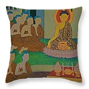 Wall Painting 3 In Wat Po In Bangkok-thailand Throw Pillow