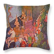 Wall Painting At Wat Suthat In Bangkok-thailand Throw Pillow