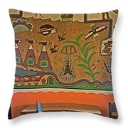 Wall Painting In Painted Desert Inn Cafe In Petrified Forest National Park-arizona  Throw Pillow