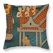 Wall Painting In Wat Po In Bangkok-thailand Throw Pillow