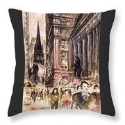 New York Wall Street - Fine Art Throw Pillow