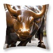 Wall Street Bull Throw Pillow