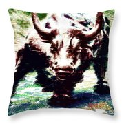 Wall Street Bull - Typography Throw Pillow