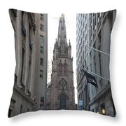 Wall Street Leading To Trinity Church Throw Pillow
