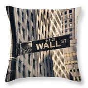 Wall Street Sign Throw Pillow