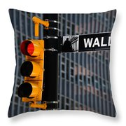Wall Street Traffic Light New York Throw Pillow by Amy Cicconi