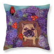 Wallace In The Garden Throw Pillow