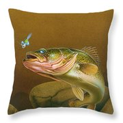 Walleye And Spinner Jig Throw Pillow by Jon Q Wright