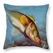 Walleye Ice Fishing Throw Pillow by Jon Q Wright