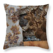 Wallpaper Stags Throw Pillow