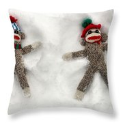 Wally And Petey Snow Angels Throw Pillow