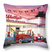 Wallys Service Station Throw Pillow