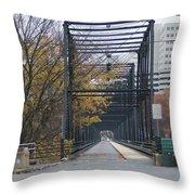Walnut Street Bridge Looking At Harrisburg Throw Pillow