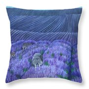 Walruses In A Field Of Lavender Throw Pillow