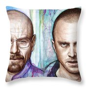 Walter And Jesse - Breaking Bad Throw Pillow by Olga Shvartsur