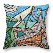 Wanderer With Dog Throw Pillow