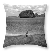 Wandering In Paradise Monochrome Throw Pillow