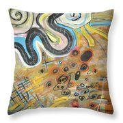 Wandering In Thought2 Original Abstract Colorful Landscape Painting For Sale Yellow Blue Green Throw Pillow