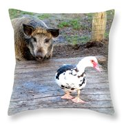 The Pig Want To Be Your Friend, Mr Duck  Throw Pillow