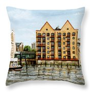 Wapping Thames Police Station And Rebuilt St Johns Wharf London Throw Pillow