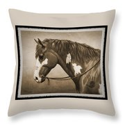 War Horse Old Photo Fx Throw Pillow by Crista Forest
